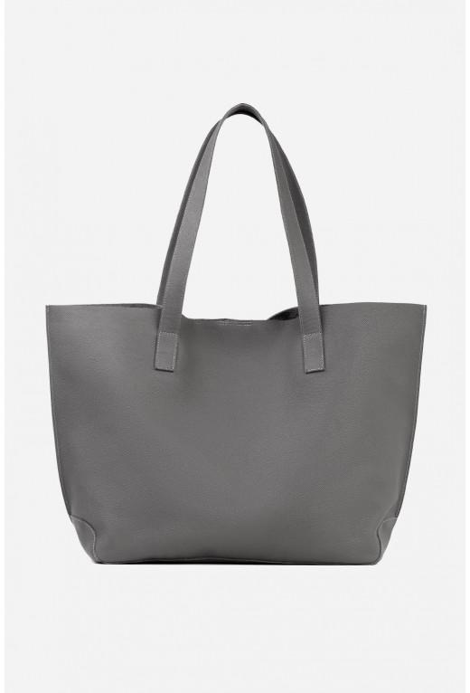 Шопер 001 з темно-сірої фактурної шкіри /срібло/