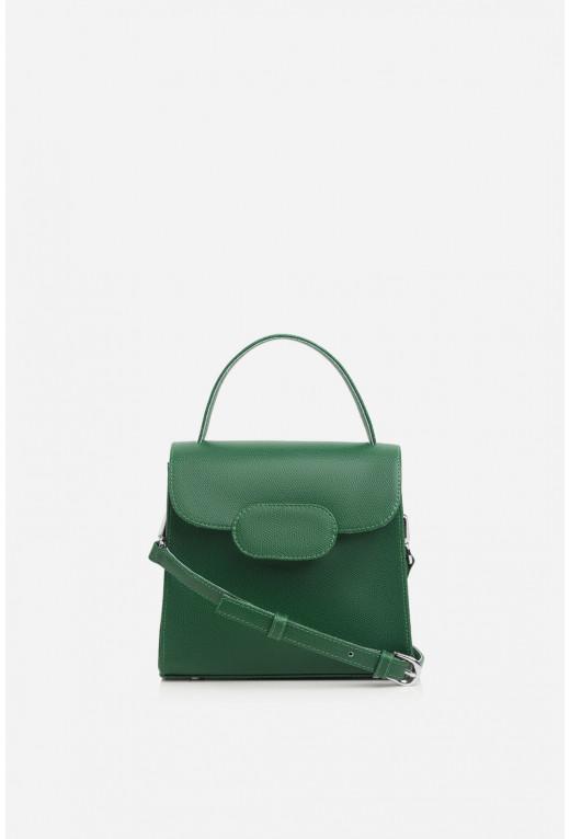 Портфель SOPHIE MINI з зеленої фактурної шкіри /срібло/