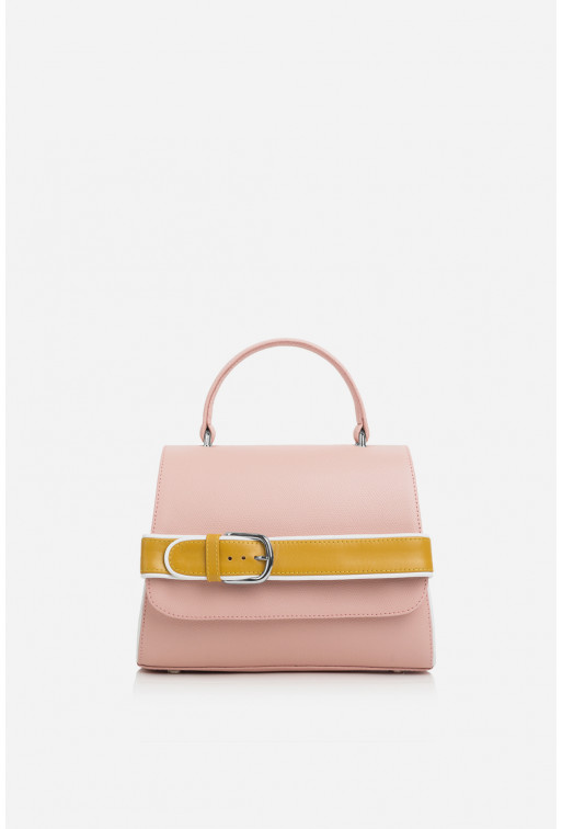 Портфель NICOLE з рожевої фактурної шкіри /срібло/