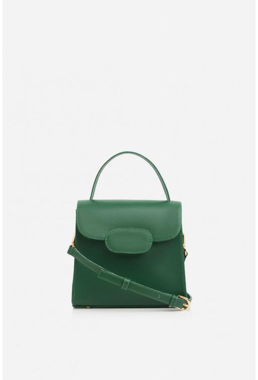 Портфель SOPHIE MINI з зеленої фактурної шкіри /золото/