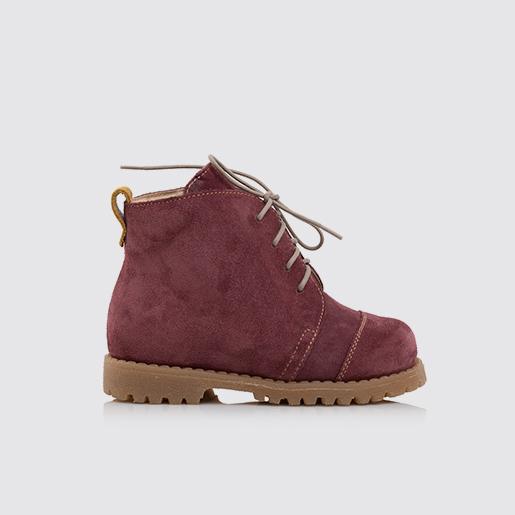 Замшеві шкіряні черевики на шнурівці