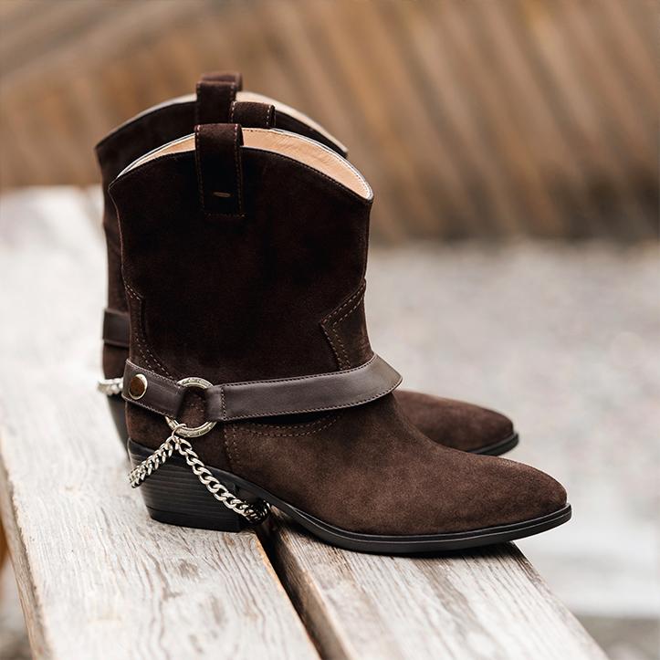 Коричневі замшеві черевики-ковбойки