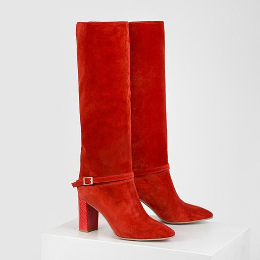 Чоботи червоні замшеві з пряжкою