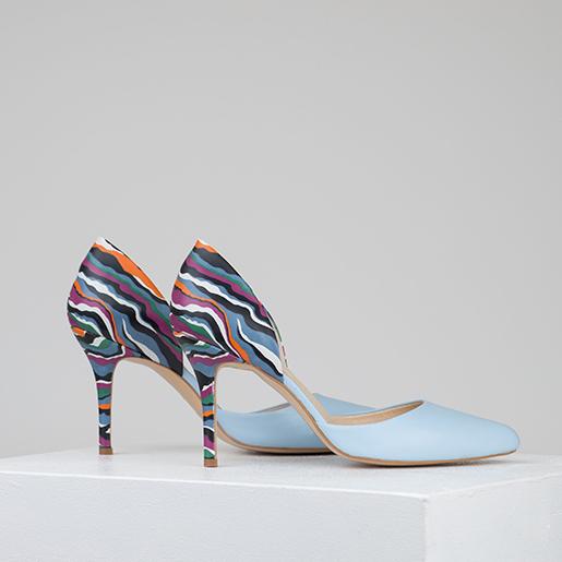Туфлі гостроносі комбіновані на 8 см