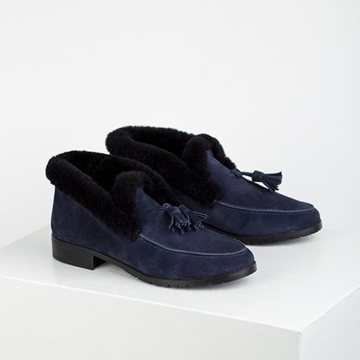 Черевики сині замшеві з китицями