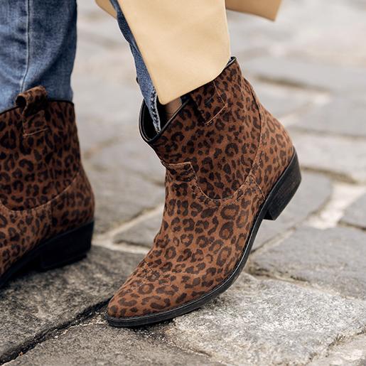 Низькі ковбойки з леопардової шкіри