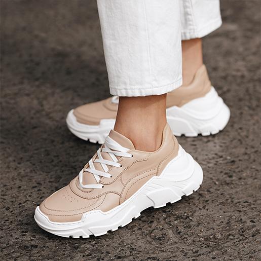 Кросівки бежеві шкіряні