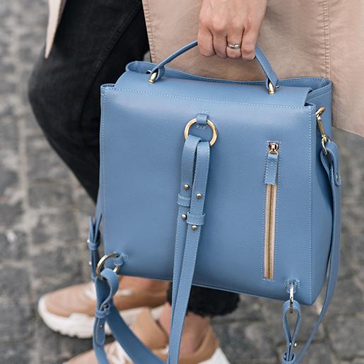 Портфель ERNA з блакитної шкіри