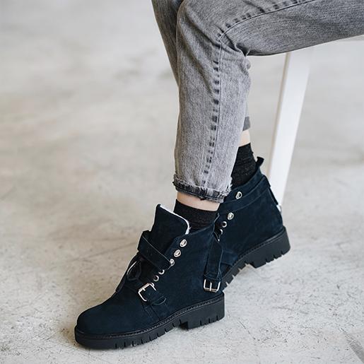 Темно-сині замшеві черевики з хутром